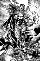 Forever Evil original art!!  David Finch Richard Friend Geoff Johns SINESTRO SPLASH, Comic Art