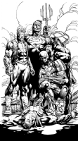 Forever Evil original art!!  David Finch Richard Friend Geoff Johns SPLASH LUTHOR BIZZARO COLD , Comic Art