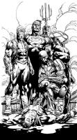 Forever Evil original art!!  David Finch Richard Friend Geoff Johns SPLASH LUTHOR BIZZARO COLD , Comic Art