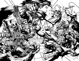 Forever Evil original art!!  David Finch Richard Friend Geoff Johns AMAZING 2 Page Spread, Comic Art