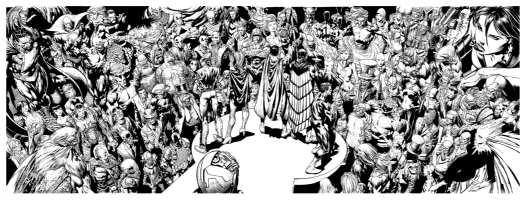 Forever Evil David Finch Richard Friend 4 page spread..uhm just about everyone!   , Comic Art