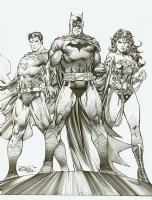 Jim Lee Richard Friend Icons Cover Superman Batman and Wonder Woman, Comic Art