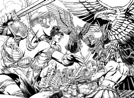 Wonder Woman issue 37 2 page splash-spread David Finch Richard Friend, Comic Art