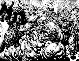 Batman Dark Knight Joker reveal 2 page spread THE ONE.  David Finch and Richard Friend, Comic Art