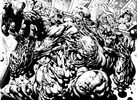 Batman Dark Knight 2 page spread Joker Clayface David Finch Richard Friend, Comic Art