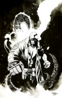Hellboy cover Richard Friend art, Comic Art