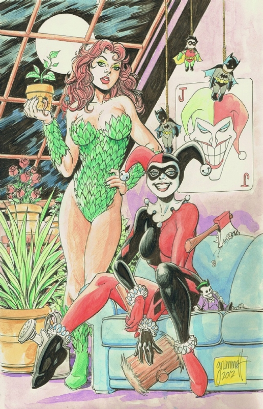 Harley Quinn and Poison Ivy by Tom Grummett Comic Art