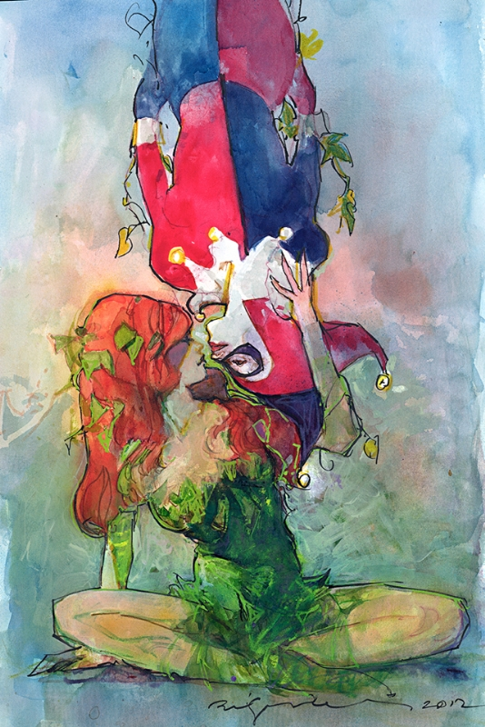 Harley Quinn and Poison Ivy by Bill Sienkiewicz Comic Art