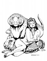 Harry Roland - Dejah Thoris & Woola Comic Art