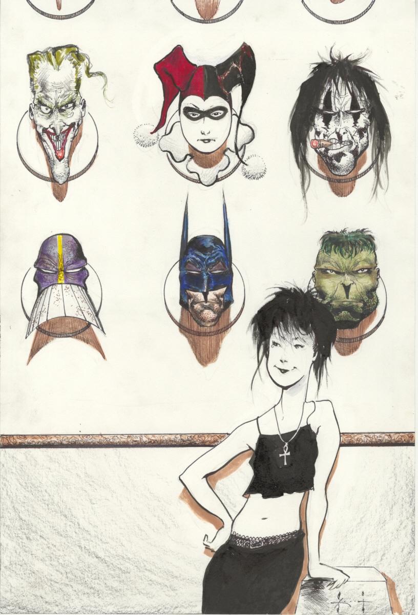 Death's Trophy Wall by Sam Kieth Comic Art