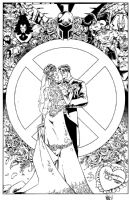 Jean and Scott Wedding Poster Comic Art