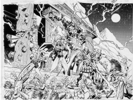 Erik Larsen Defenders 2 page splash Comic Art