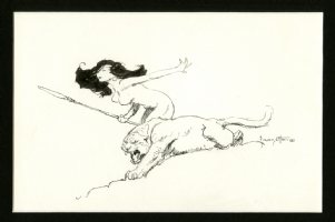 Frank Frazetta Huntress and Lion Comic Art
