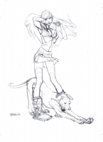 Claire Wendling Bra adjusting and the Stretching Dog Comic Art
