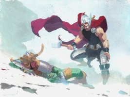 Thor Vs Loki Comic Art