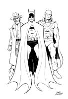 Jonah Hex/Batman/Martian Manhunter pinup, Comic Art