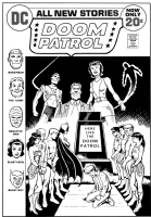 Justice League #100 Doom Patrol recreation - Black and White stage, Comic Art
