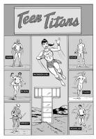 Adventure #300 remix/recreation - Teen Titans work in progress, Comic Art