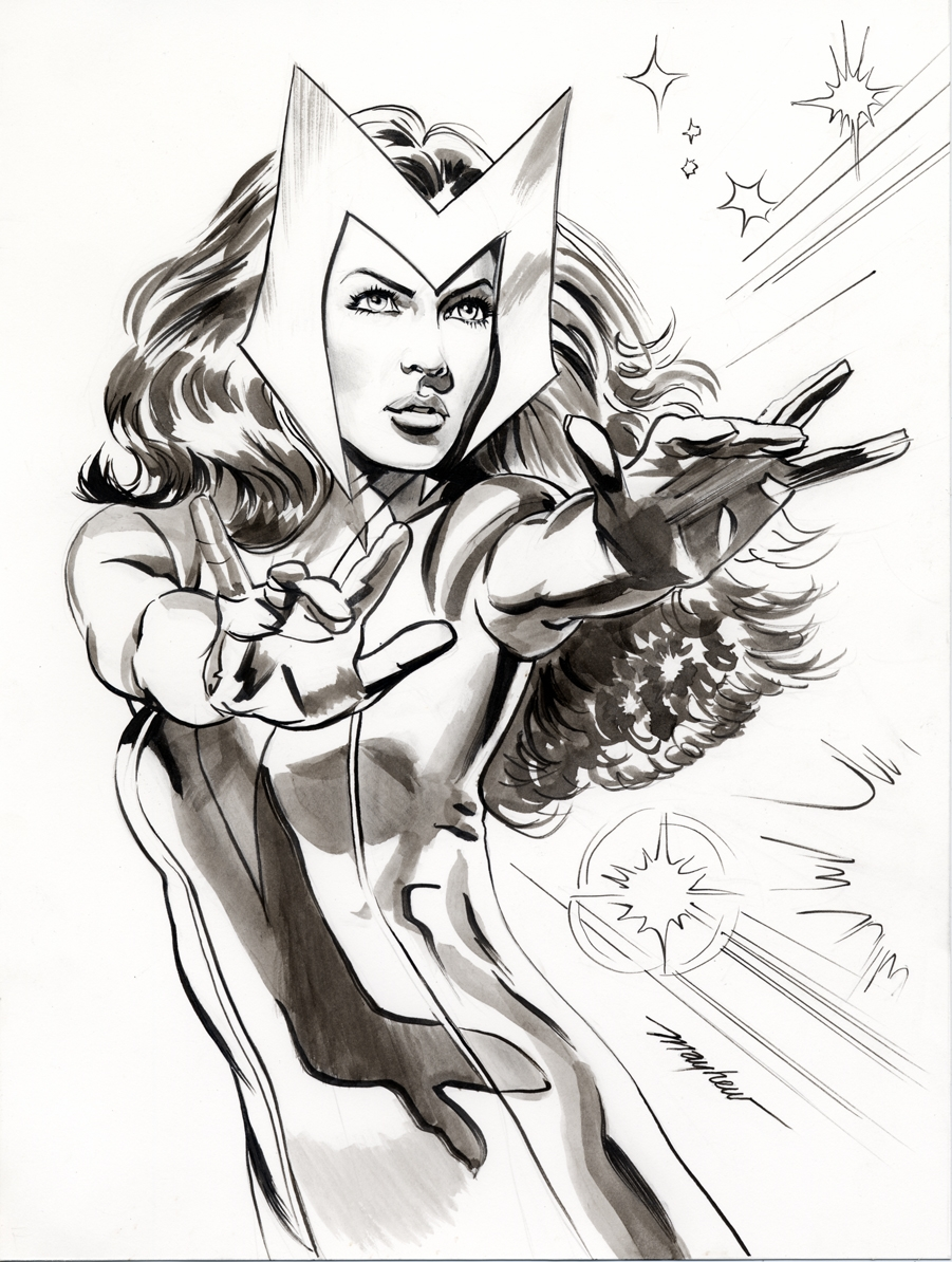 Mike Mayhew Original SCARLET WITCH Commission Comic Art