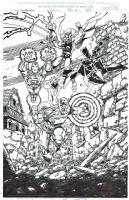Avengers 21 SPLASH by George Perez & Al Vey, 1999 -- Cap, Iron Man, Thor, Black Panther & Firestar! Comic Art
