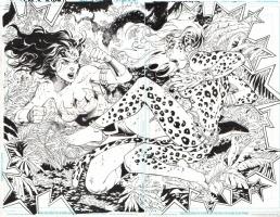 WONDER WOMAN vs CHEETAH DPS -- JLA 13 pgs 2-3 by Tony Daniel, 2011 Comic Art