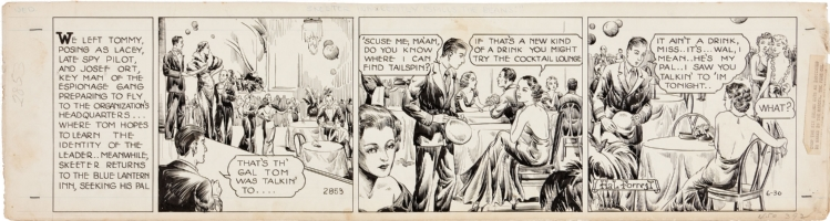 Tailspin Tommy - daily strip - #2853 - 30 Jun 1937 Comic Art