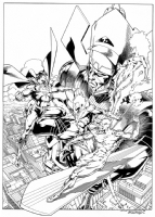 Superman vs Galactus and his heralds Comic Art