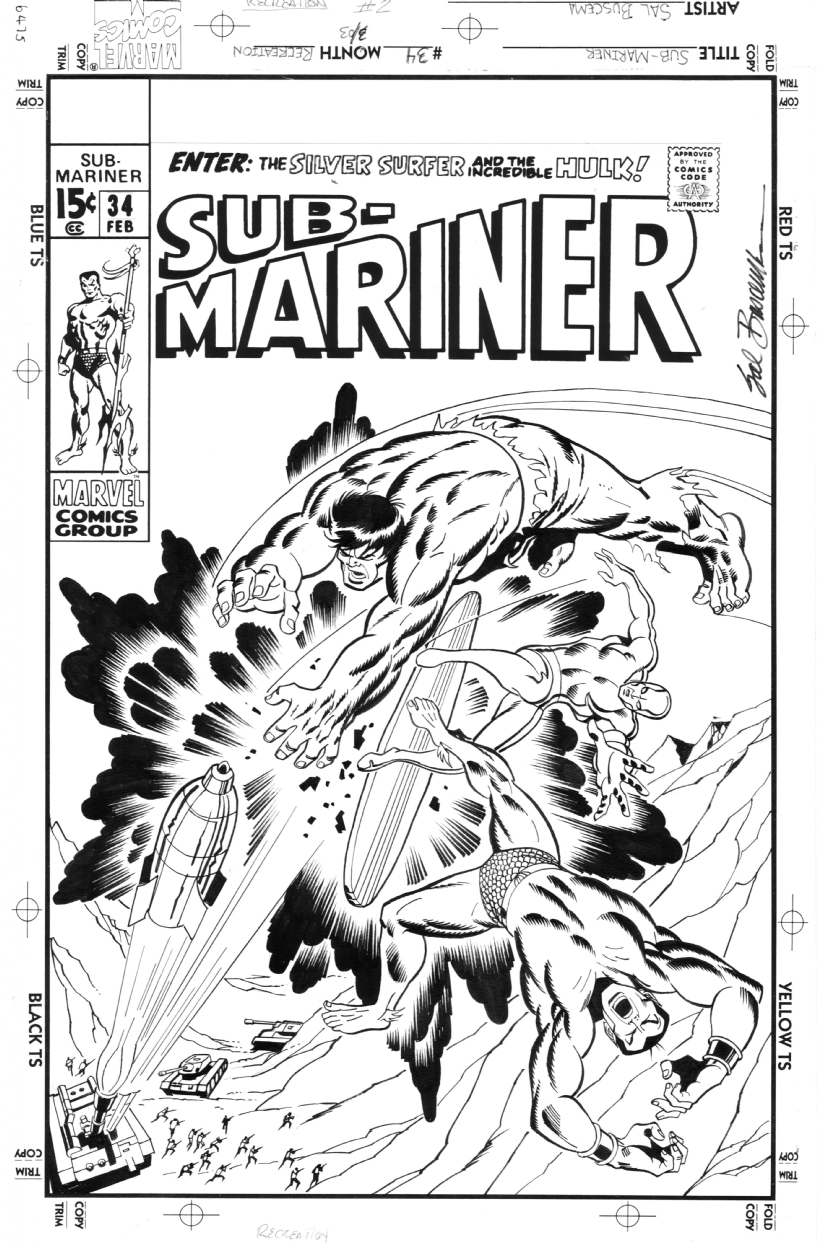 Sub-Mariner34 cover recreation by Sal Buscema Comic Art