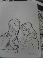 Iron Man and Supergirl head sketch Comic Art