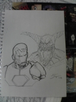 Iron Man and friend head sketch Comic Art