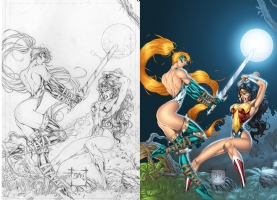 Artemis VS Wonder Woman Comic Art