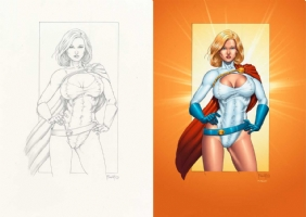 Powergirl colors by THOMAS MASON - Pro Colorist For Hire Comic Art