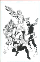 Deathstroke, Vigilante, Peacemaker and Checkmate Knight by Steve Erwin Comic Art