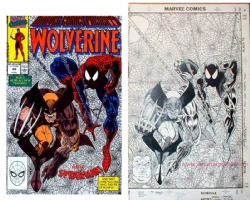 Erik Larsen - Spiderman / Wolverine Cover 1990 Comic Art