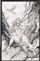 2007SC Frank Cho jungle girl -inked by Atula Siriwardane Comic Art