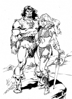002 Conan & Red Sonja Inked -over John Buscema Prelim Sketch (Sold) Comic Art