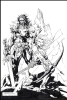 Red Sonja & Claw -Jim Lee Cover RECREATION -SOLD- Comic Art