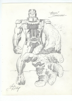 Sandman pencils by Jack Kirby - published in Jack Kirby Heroes & Villians with inks by Mike Mignola Comic Art