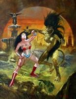 Wonder Woman vs Cheetah: Catfight in the Concrete Jungle OA - Manuel Sanjulian signed/dated Comic Art