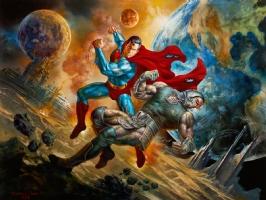Superman vs Darkseid: When Titans Clash 2.0 OA - Boris Vallejo & Julie Bell signed/dated Comic Art
