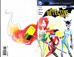 Gotham Girls: Poison Ivy, Harley Quinn, Catwoman, on Detective Comics #20, by Yam Roni, Comic Art