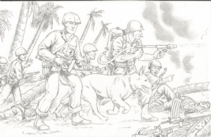 Gunner and Sarge with Pooch Comic Art