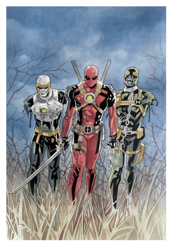 Deadpool  Walking Dead  homage Comic Art