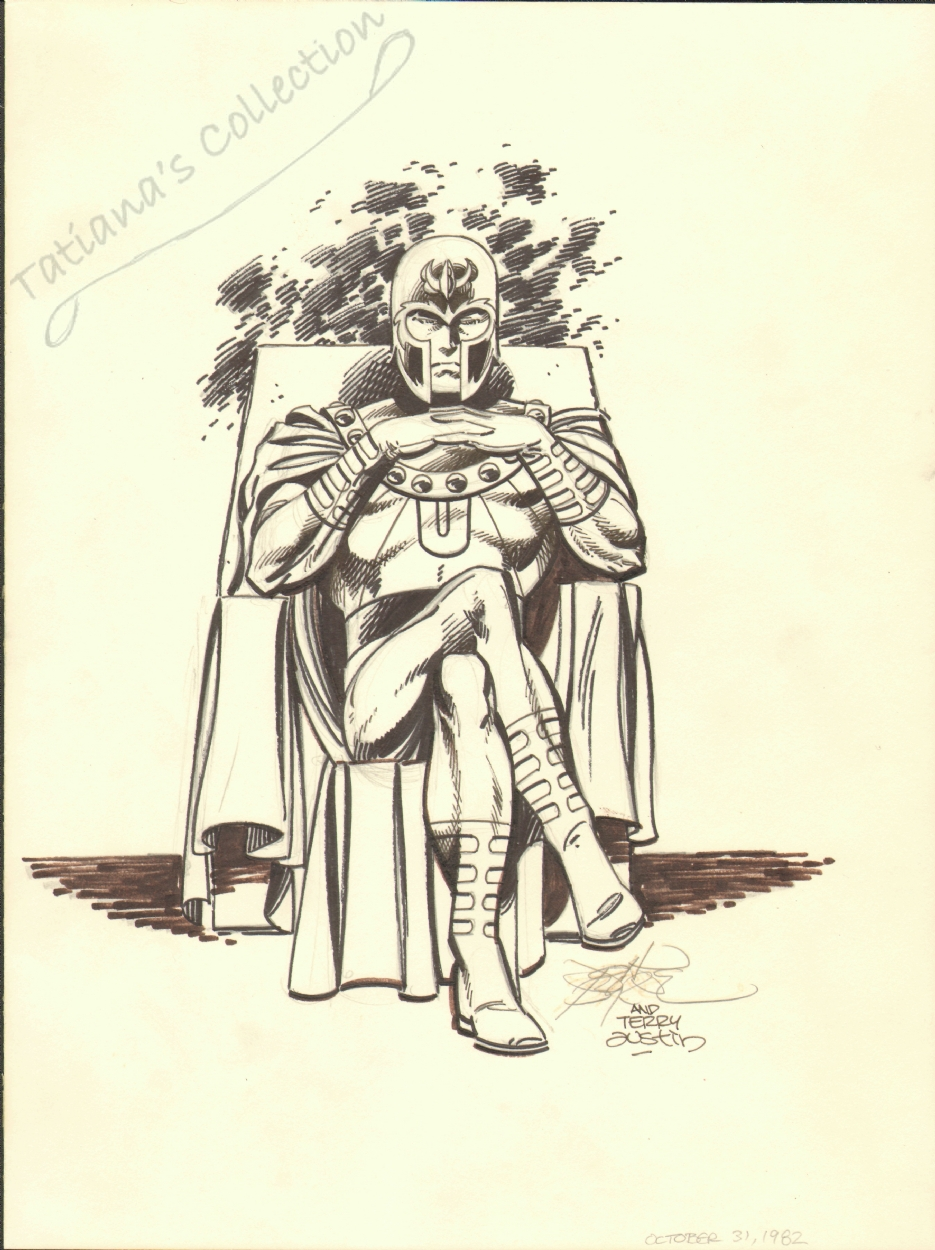 John Byrne Terry Austin Magneto Pinup SOLD Comic Art