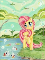 Fluttershy Singing by Sara Richard Comic Art