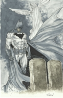 Batman at Wayne's tomb copics commission sample - Robson Rocha Comic Art