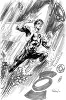 Green Lantern Kyle Rayner full body ink wash sample - Robson Rocha Comic Art