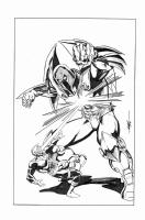 Cyclops vs Onslaught by MC Wyman (11x17) Comic Art