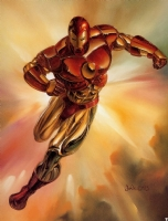 1993 Marvel Masterpieces #4 - Iron Man By Julie Bell Comic Art