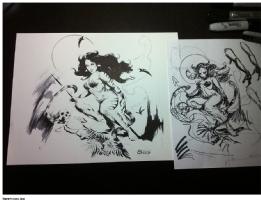CAVEWOMAN TIGRA TIGRESS RETRO STYLE CHRIS CONIDIS PLUS ROUGH SKETCH Comic Art